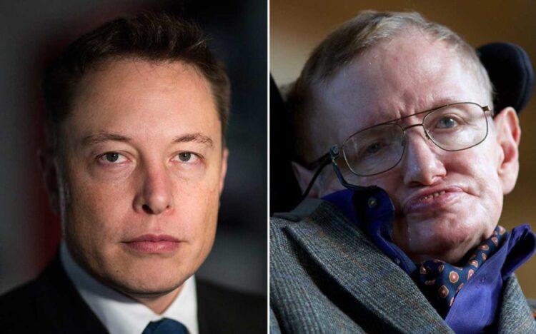 Elon Musk, fundador da Tesla Motors e SpaceX, à esquerda, e Stephen Hawking, cosmologista e divulgador científico, à direita.