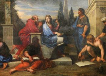 Aspásia rodeada de filósofos gregos. Michele Corneille, 1670.