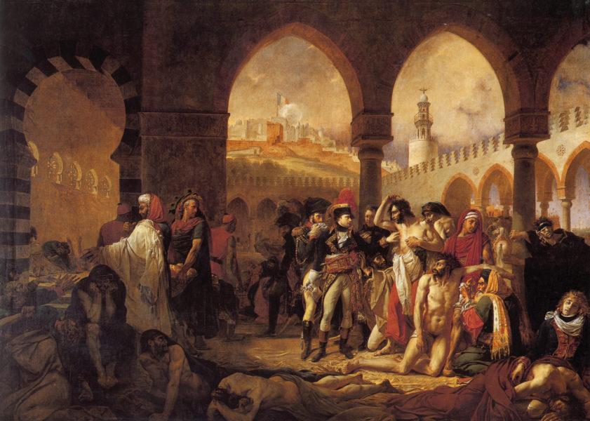 Napoleão visitando as vítimas da peste de Jaffa, por Antoine-Jean-Gros.