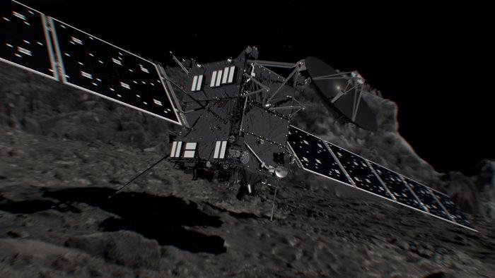 Representação artística do impacto final da Rosetta. Crédito: ESA