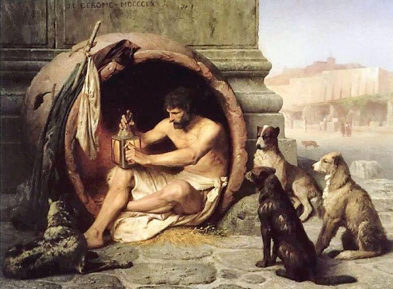 """""""Quanto mais procuro por homens honestos, mais admiro meus cachorros. Diógenes de Sínope."""