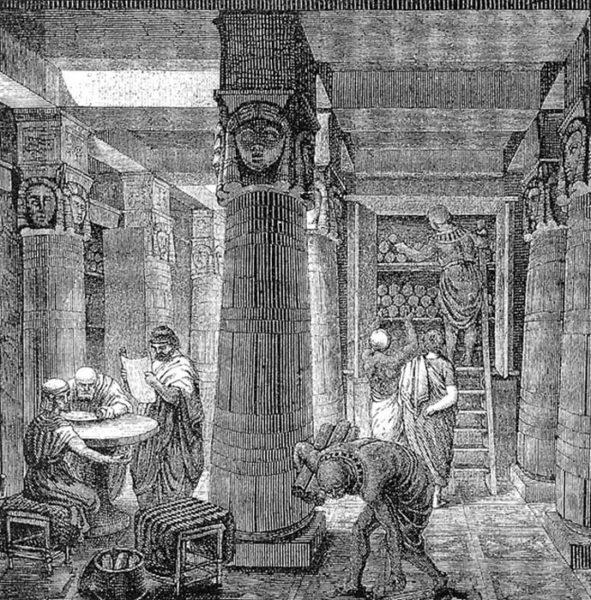 Representação artística da Biblioteca de Alexandria baseada em achados arqueológicos.