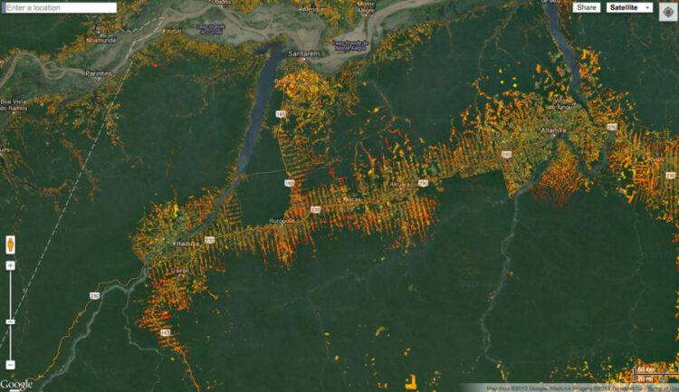 Mapa florestal mostrando o desmatamento histórico na Amazônia brasileira.
