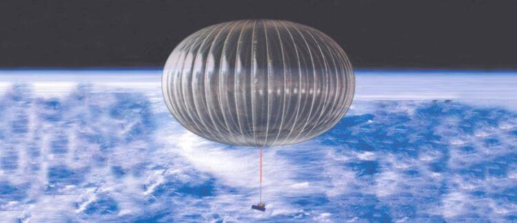 Ilustração de um balão estratosférico. Instrumento científico transportado por balão estratosférico realiza voo de circum-navegação na Antártica com o objetivo de captar a energia que emana das explosões solares em frequências inéditas. (Crédito: NASA)