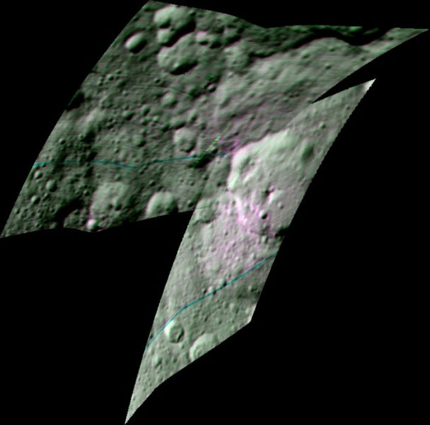 This enhanced color composite image from Dawn's visible and infrared mapping spectrometer shows the area around Ernutet Crater on Ceres. The instrument detected the evidence of organic materials in this area, as reported in a 2017 study in the journal Science. In this view, areas that appear pink with respect to the background appear to be rich in organics, and green areas are where organic material appears to be less abundant.Light with a wavelength of 2000 nanometers is shown in blue, 3400 nanometers is shown in green and 1700 nanometers is shown in red. Credits: NASA/JPL-Caltech/UCLA/ASI/INAF