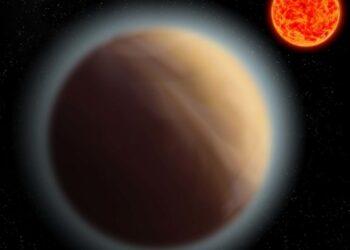 Os pesquisadores detectaram uma atmosfera em torno de um planeta próximo à Terra, o GJ 1132b, localizado a 39 anos-luz de distância, retratado aqui em uma impressão artístuca. Crédito: MPIA
