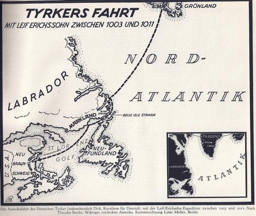 Reprodução de um Mapa Viking do Inicio do século XI na região do atlântico norte.