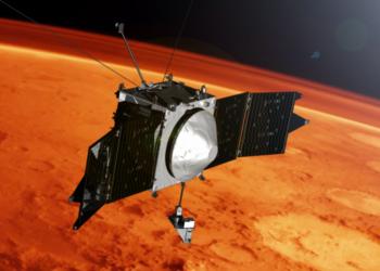 Concepção artística mostra a espaçonave MAVEN e o horizonte de Marte. Crédito: Goddard Space Flight Center da Nasa