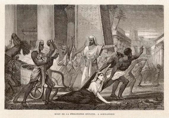 Morte da filósofa Hipátia, Alexandria, 1866, por Louis Figuier.