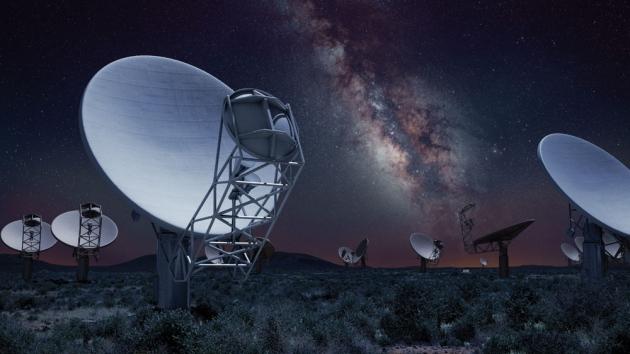 O telescópio MeerKAT na África do Sul, visto aqui na impressão de uma simulação computacional, será um protótipo para a vasta Square Kilometer Array (SKA).