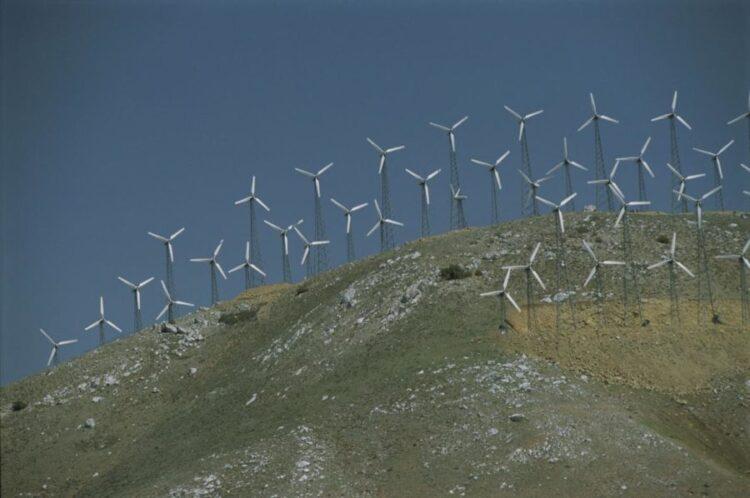 A energia eólica está crescendo nos EUA, como sugerem essas turbinas na Califórnia. Crédito: George F Mobley / National Geographic