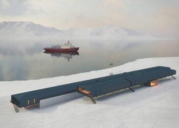 Maquete digital da nova estação brasileira de pesquisa na Antártida Comandante Ferraz. Crédito: Marinha do Brasil
