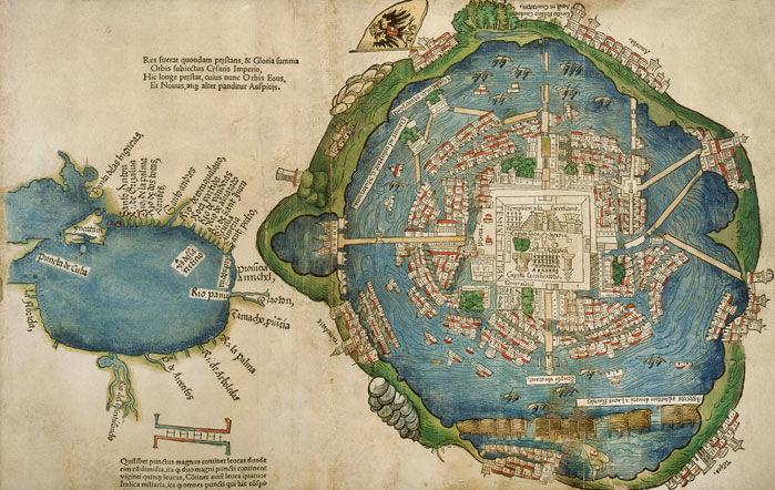 Os guerreiros de Tlaxcalteca ajudaram os espanhóis a conquistar a cidade central cercada de Tenochtitlan em 1521. O Conquistador Hernán Cortés incluiu este mapa de Tenochtitlan em sua segunda carta à coroa espanhola. Imagem: Newberry Library, Chicago, llinois/Bridgeman Images