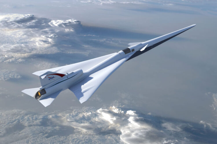 Ilustração da aeronave de demonstração de voo Low Boom planejada pela Nasa conforme descrito durante a conclusão da revisão preliminar do projeto na semana passada. Créditos: NASA / Lockheed Martin