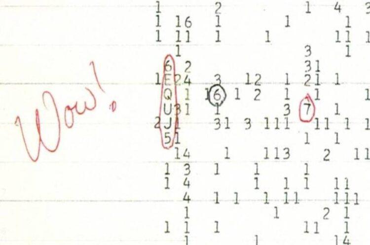 """O sinal Wow! representado como """"6EQUJ5"""". Crédito: Observatório de rádio Big Ear e Observatório Astrofísico Norte-americano (NAAPO)."""