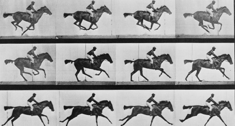 Um flipbook (ou folioscópio) de fotos de Eadweard Muybridge é a base de uma imagem animada armazenada em DNA bacteriano com ajuda da ferramenta de edição de genes CRISPR. (Eadweard Muybridge/U.S. Library of Congress)