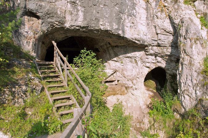 A entrada da caverna Denisova na Sibéria, onde um dente foi descoberto em 1984. Crédito: Wikicommons