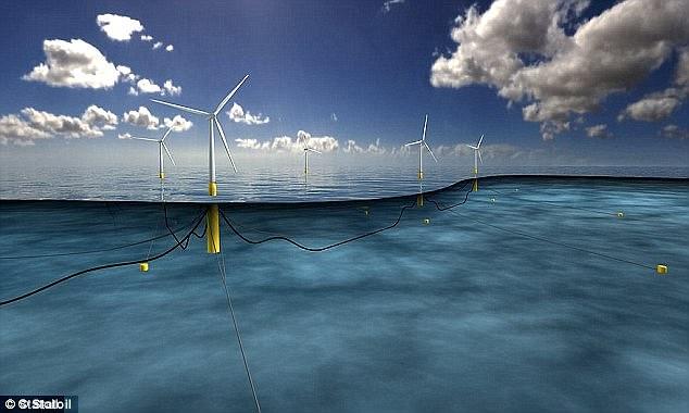 """O projeto (foto, imagens geradas por computador) obteve o consentimento da """"Marine Scotland"""" em outubro passado e a Statoil, uma estatal petrolífera norueguesa, tomou a decisão de investimento final para construir o parque eólico flutuante."""