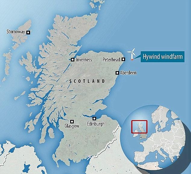 """O parque eólico além da costa de Peterhead. """"Sua operação bem sucedida demonstrará a viabilidade do 'vento flutuante' em locais de águas profundas"""", disse Ronnie Quinn, Gerente Geral do The Scotland Estate Estate Portfolio."""