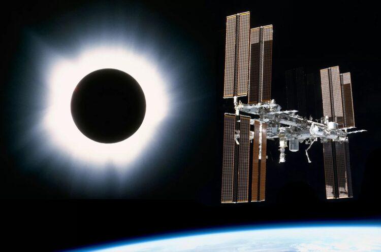 """A tripulação da Estação Espacial Internacional terá três posições diferentes para o """"Great American Solar Eclipse"""" em 21 de agosto de 2017. Créditos: NASA / SPACE.com"""