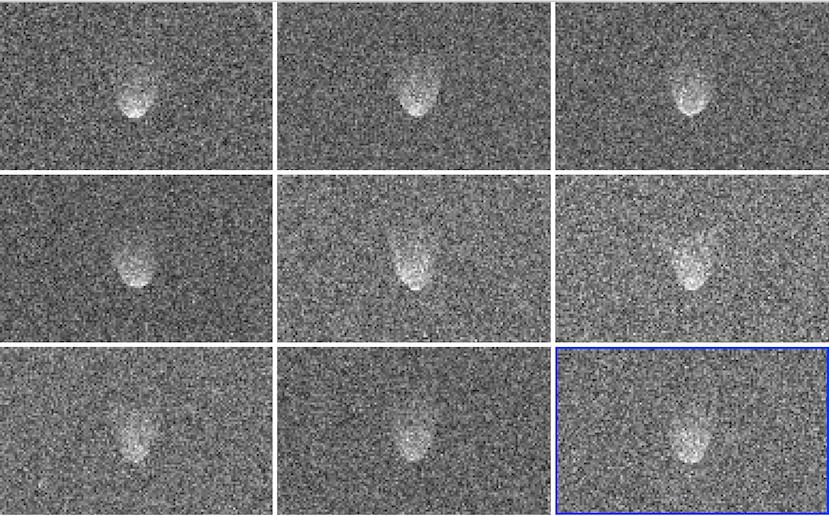 Imagens Delay-Doppler de Florence obtidas em 29 de agosto de 2017. A resolução é 75 m x 7,7 Hz. O alcance aumenta e a frequência Doppler aumenta para a direita. O tempo aumenta da esquerda para a direita e de cima para baixo. O asteroide mostra aparência geral arredondada. A distância entre as bordas de partida e as bordas de fuga é de cerca de 2,3 km. Cada imagem é uma soma de 5 execuções que abrange cerca de 25 graus de rotação. Fonte: JPL/NASA