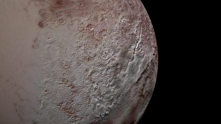 O terreno em lâmina de Plutão, visto pela New Horizons, durante o voo de julho de 2015. Crédito: NASA / JHUAPL / SwRI