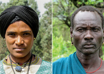 Researchers have identified genes that help create diverse skin tones, such as those seen in the Agaw (left) and Surma (right) peoples of Africa. Ph: ALESSIA RANCIARO & DR. SIMON R. THOMPSON