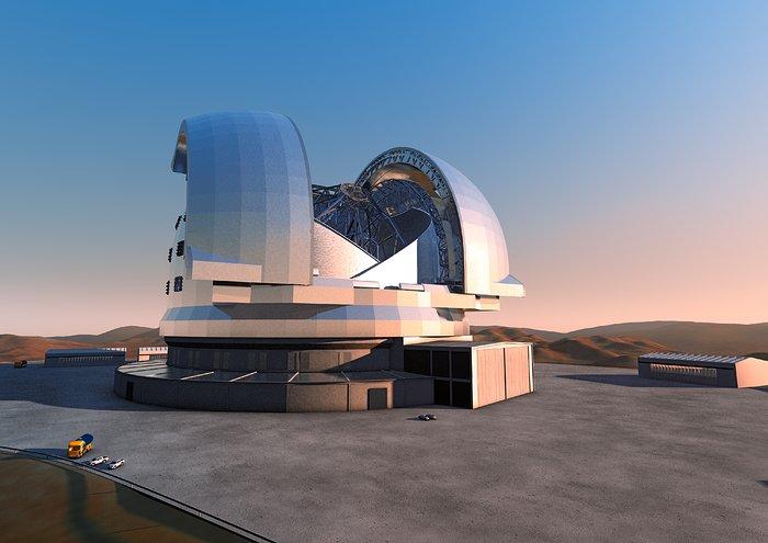 """Impressão artística do """"Telescópio Extremamente Grande"""". Conhecido como ELT (sigla para Extremely Large Telescope) e previsto para ser o maior telescópio óptico e infravermelho do mundo, esse fantástico telescópio terá um espelho primário de 39 metros de diâmetro e """"será o maior olho do mundo virado para o céu""""— mas palavras do ESO. O começo das operações do ELT está planejado para o início da próxima década, quando a comunidade de astrônomos e astrofísicos poderão conduzir estudos científicos que incluem galáxias com elevado desvio para o vermelho, formação estelar, exoplanetas e sistemas protoplanetários"""". O design para o ELT mostrado aqui foi publicado em 2011 e é preliminar. Crédito: ESO"""
