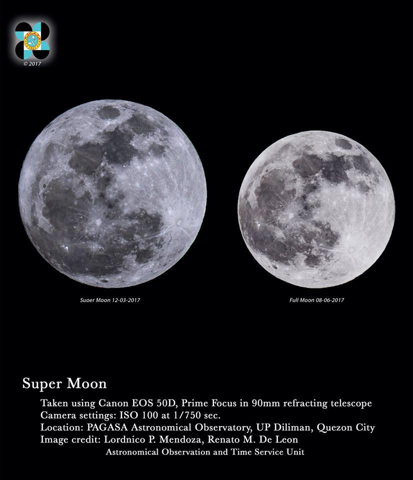 Super Lua em Quezon. A Lua atingiu o Perigee às 16h43 e chegará à fase da Lua Cheia às 23h47 mais tarde nesta noite na cidade de Quezon, Filipinas. A Lua desta noite pode aparecer até 14% maior e 30% mais brilhante do que o normal. Fonte:
