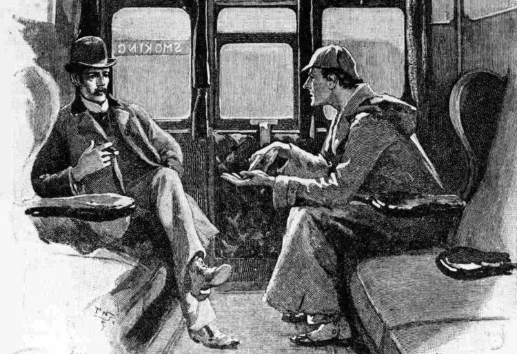 Detetive Sherlock Holmes e Dr. John Watson em viagem de trem. Desenho original de Sidney Paget.