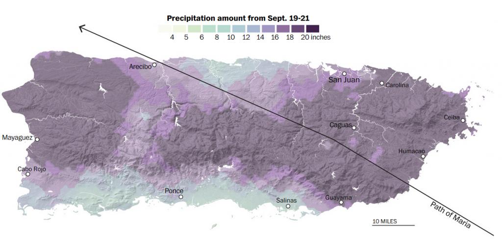 Gráfico: quantidade de chuva que o Maria provocou em Porto Rico. O furacão Maria foi o primeiro furacão da Categoria 4 a atingir terra na ilha em mais de 80 anos. San Juan, no lado norte da ilha, é a área mais densamente povoada, com quase 400 mil pessoas. Crédito: The Washington Post