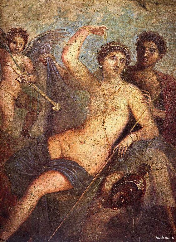 Afresco erótico da deusa Vênus com o deus Marte. Pompeia.