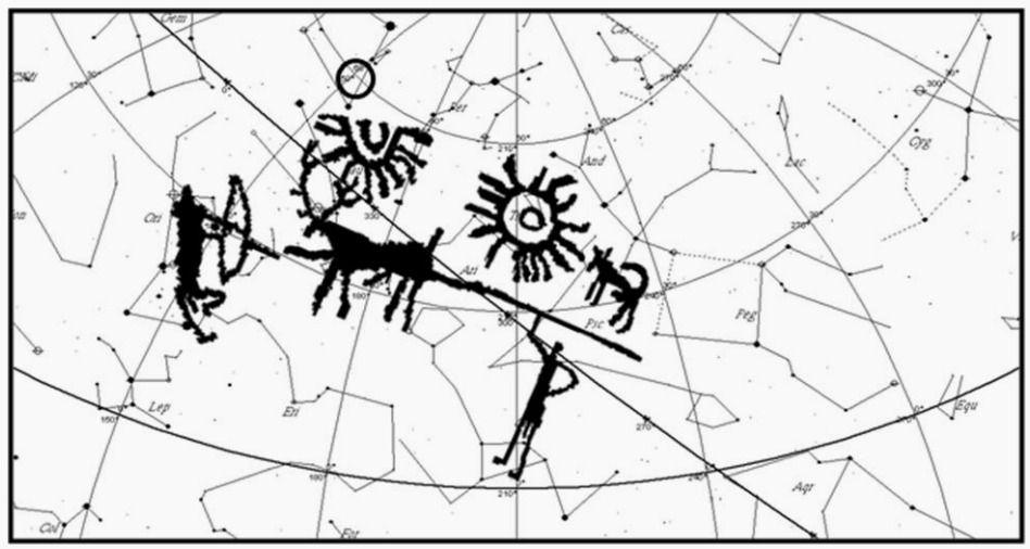 Comparativo da inscrição rupestre estudada por Vahia e equipe e as constelações próximas da supernova HB9. (Vahia et al)