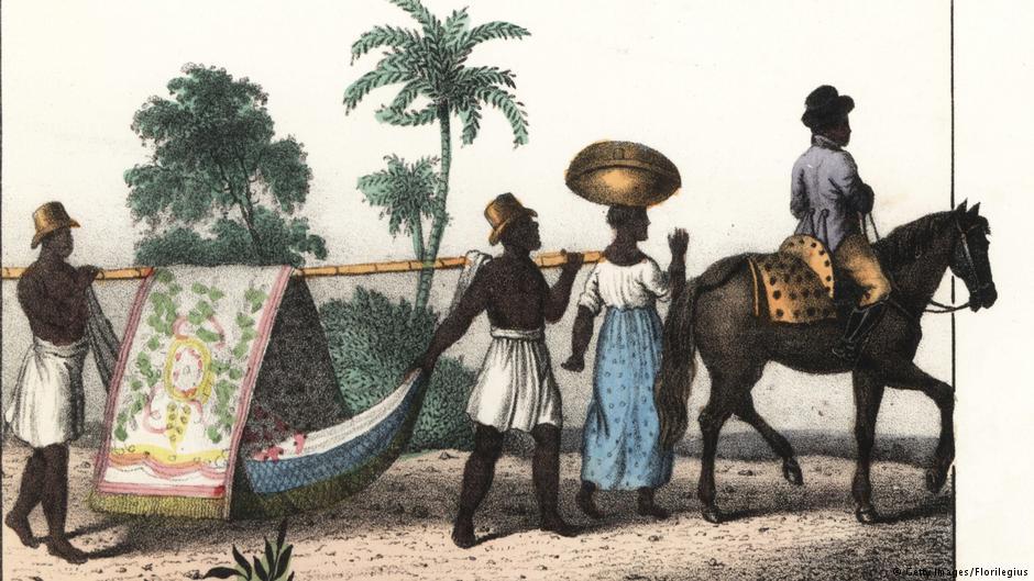 Escravos no Brasil, em pintura de 1835: Darwin cita muitas vezes exemplos claros de crueldade contra negros.