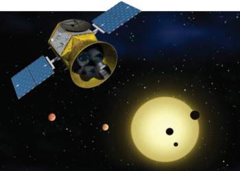 Concepção artística do TESS em órbita. Crédito: NASA