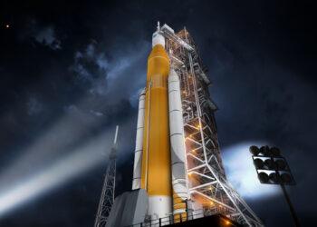 Uma renderização do Space Launch System da NASA. (Crédito: NASA)