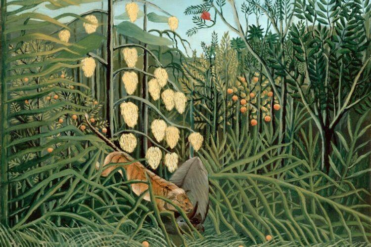 """""""Em uma Floresta Tropical"""" (luta entre tigre e touro) de Henri Rousseau."""