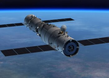 Uma renderização do laboratório espacial Tiangong-1 (à direita) encaixou com a nave espacial não tripulada Shenzhou-8. Os bicos do motor da estação espacial chinesa estão visíveis e teriam sido usados para realizar uma reentrada controlada, se a China não tivesse perdido o controle da Tiangong-1 (Imagem: CNSA).