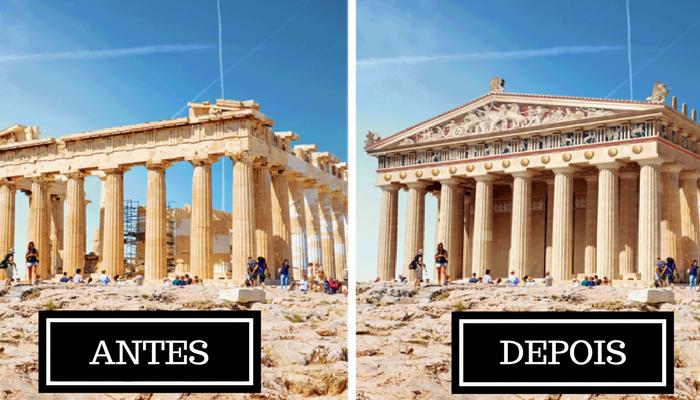 E se pudéssemos ver como 7 monumentos antigos famosos eram em seus tempos de glória?