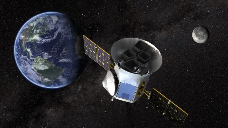 Ilustração artística do satélite TESS da NASA, que irá caçar exoplanetas orbitando estrelas mais brilhantes do lado de fora do nosso sistema solar dando continuidade ao trabalho do Kepler. Crédito: Goddard Space Flight Center da NASA.