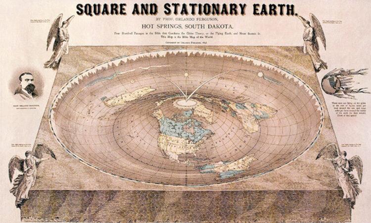 A Terra estacionária e quadrada.