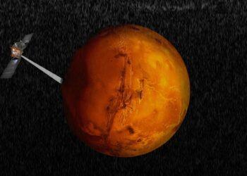 Impressão artística da sonda Mars Express explorando o hemisfério sul de Marte. Imagem de Davide Coero Borga / ESA / INAF