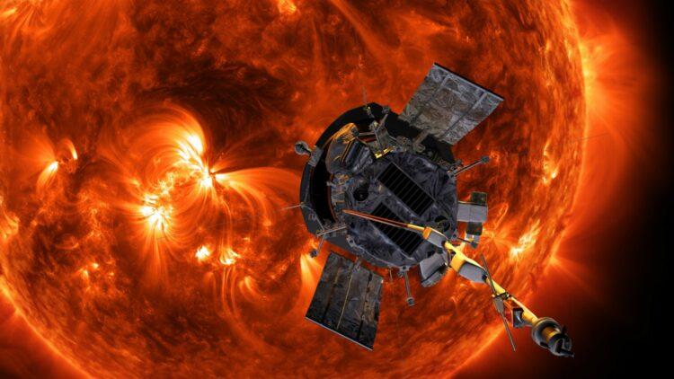 Uma ilustração artística da Parker Solar Probe se aproximando do Sol. Créditos: NASA / Johns Hopkins APL / Steve Gribben