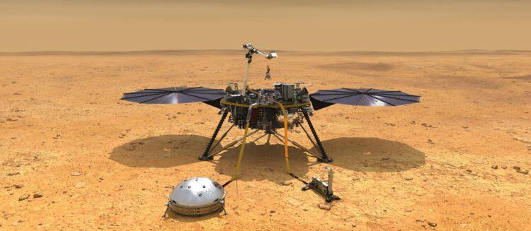 Representação de um artista do lander Mars InSight em Elysium Planitia, onde pousará em 26 de novembro. Crédito: NASA / JPL-Caltech