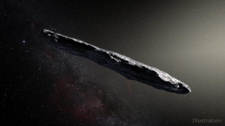Representação artística a partir de dados técnicos do asteroide interestelar 1I / 2017 U1 ('Oumuamua) ao passar pelo sistema solar após sua descoberta em outubro de 2017. As observações do 'Oumuamua indicam que ele deve ser muito alongado por causa de suas variações dramáticas de brilho à medida que ele viaja pelo espaço. Crédito da imagem: European Southern Observatory / M. Kornmesser. Imagem ampliada.