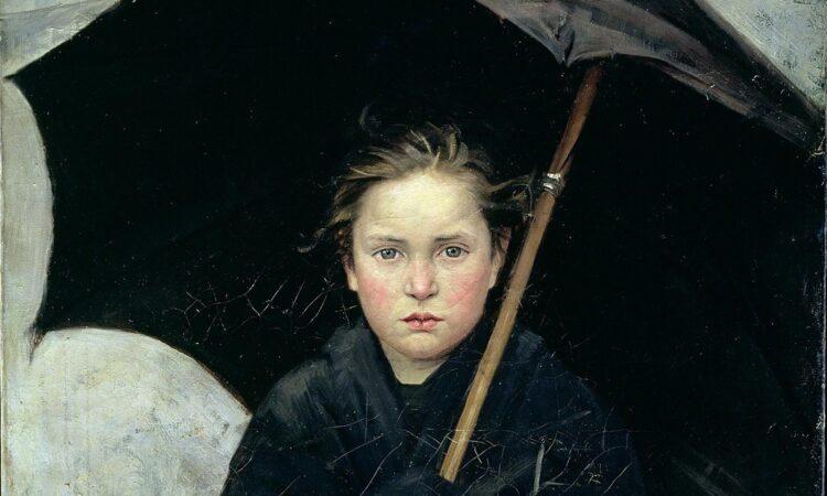 Se eu acredito que está chovendo lá fora ... The Umbrella (1883) de Marie Bashkirtseff. Cortesia do Museu Russo Estatal / Wikipedia.