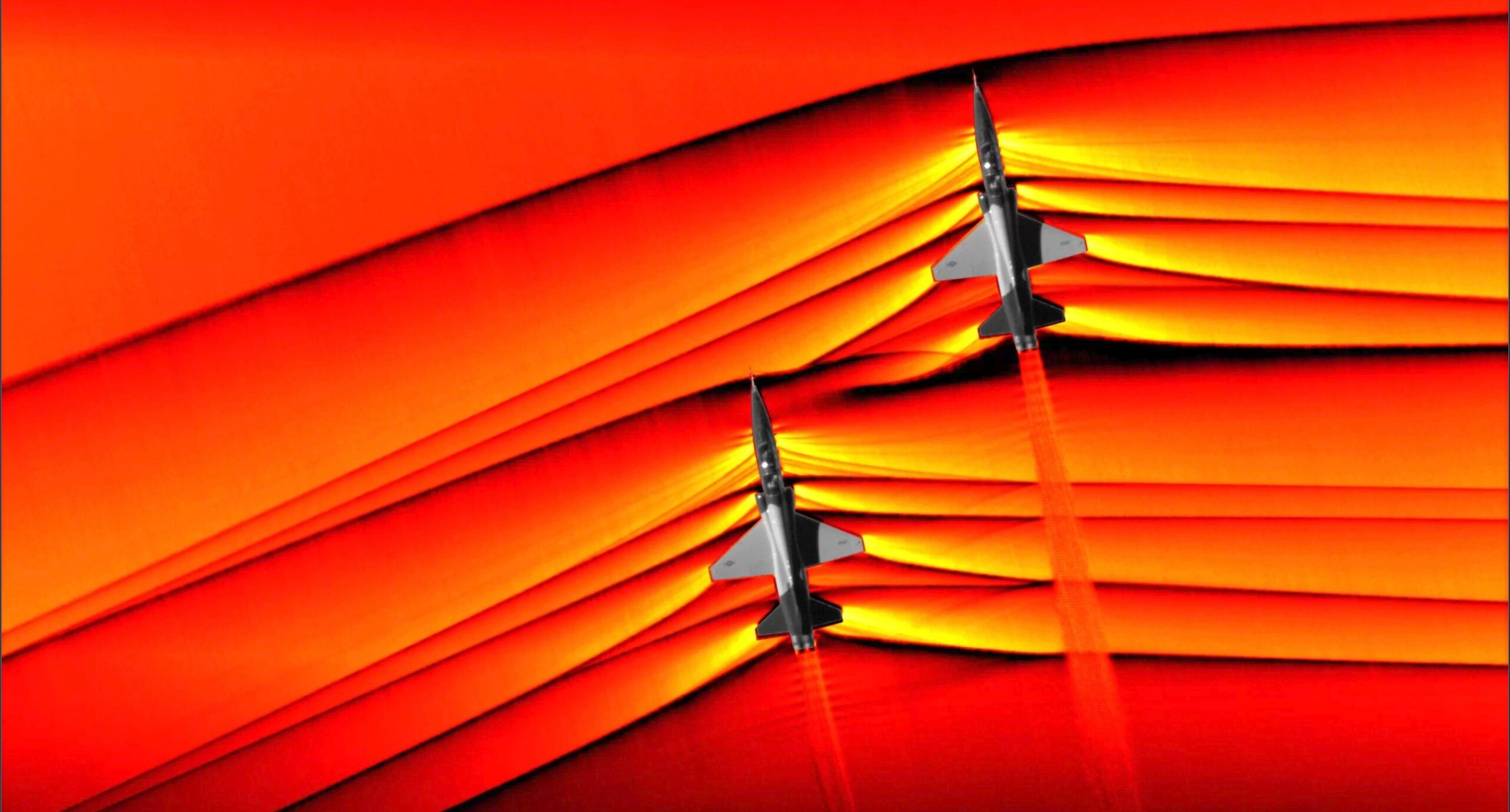 NASA tira fotos de interações entre as ondas de choque de duas aeronaves supersônicas