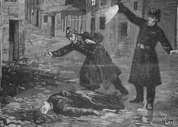 Uma imagem histórica da polícia descobrindo uma vítima de assassinato de Jack, o Estripador.