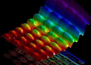 Luz mostrando simultaneamente a interferência espacial e a quantização de energia © Fabrizio Carbone / EPFL