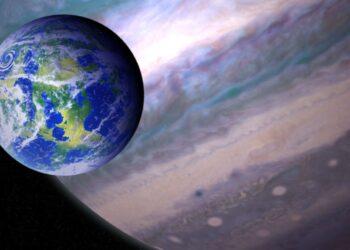 Ilustração artística de uma exolua habitável. Foto: NASA